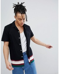 ASOS DESIGN Regular Fit Revere Collar Shirt With Contrast Ribbed Hem