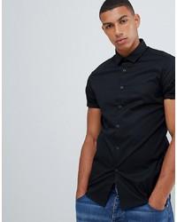 ASOS DESIGN Skinny Shirt In Black With Short Sleeves