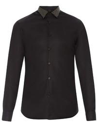 Alexander McQueen Studded Collar Button Cuff Cotton Shirt