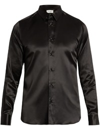 Saint Laurent Button Cuff Silk Satin Shirt