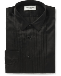 Saint Laurent Bib Front Silk And Cotton Blend Tuxedo Shirt