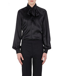Saint Laurent Charmeuse Tieneck Shirt Black