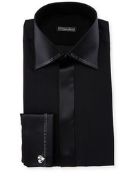 Stefano Ricci Crystal Trim Silk French Cuff Tuxedo Shirt
