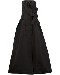 Carolina Herrera Button Detailing Strapless Gown