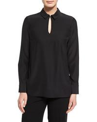 Lafayette 148 New York Shay Long Sleeve Silk Keyhole Blouse Black