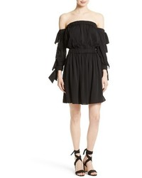 Black Silk Off Shoulder Dress