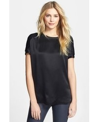 Black Silk Short Sleeve Blouse