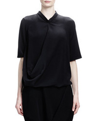 Stella McCartney Short Sleeve Crepe De Chine Silk Top Black
