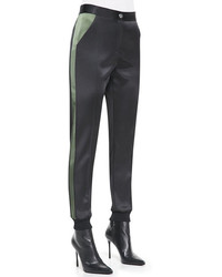 Black Silk Skinny Pants