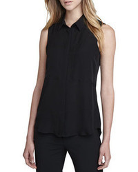Black Silk Sleeveless Button Down Shirt