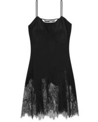 Alexander ueen lace trimmed silk camisole black medium 1251858