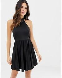 ASOS DESIGN Scuba Halter Bow Back Pleated Mini Dress