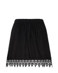 New Look Black Crochet Trim Skater Skirt