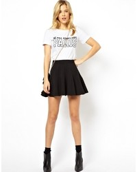 Asos Flippy Skater Skirt In Texture Black