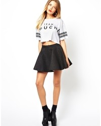 Bitching & Junkfood Quilted Skater Skirt Black