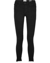 Frame Le Skinny De Jeanne Raw Stagger Mid Rise Jeans