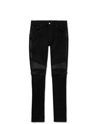 Amiri Mx2 Skinny Fit Leather Panelled Distressed Stretch Denim Jeans