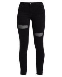 Only Onlpetra Ank Stocking Jeans Skinny Fit Black Denim