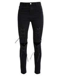 Missguided Rebel Corset Detail Slim Fit Jeans Black