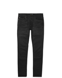 Saint Laurent Skinny Fit 15cm Hem Coated Denim Jeans
