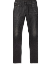 Saint Laurent Skinny Fit 15cm Hem Stretch Denim Jeans