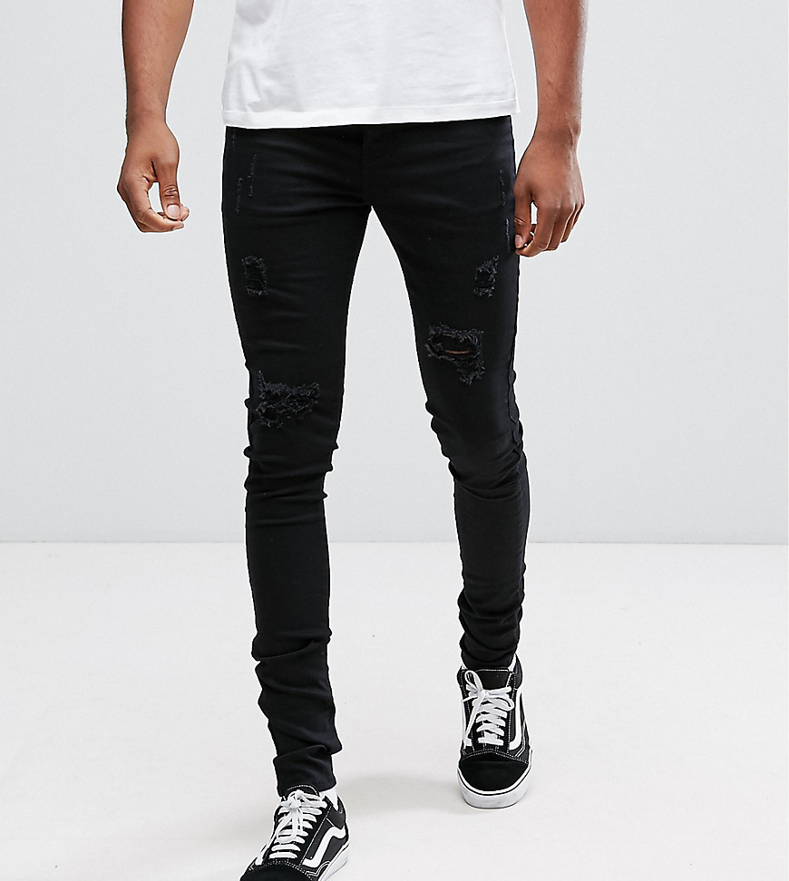 Sixth June Skinny Fit Jeans In Black With Distressing To Asos