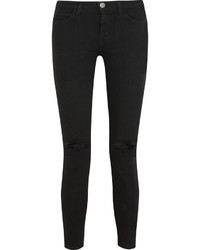 Current/Elliott The Stiletto Mid Rise Distressed Skinny Jeans Black
