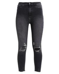 New Look Vanessa Fray Hem Jeans Skinny Fit Black