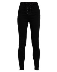 Missguided Vice Lace Up Jeans Skinny Fit Black