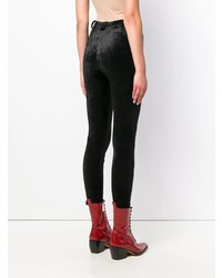 Unravel Project Lace Up Velour Skinny Trousers