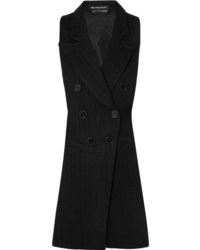 Ann Demeulemeester Open Back Herringbone Wool Blend And Satin Twill Vest