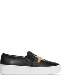 MICHAEL Michael Kors Michl Michl Kors Pia Glittered Textured Leather Slip On Sneakers Black