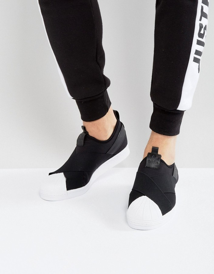 reputable site f7c1f b5e76 £72, adidas Originals Superstar Slip On Sneakers In Black Bz0112