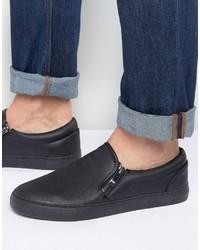 Zip slip on sneakers in black medium 1193744