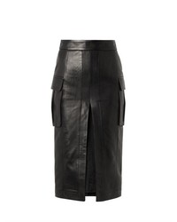 Black Slit Leather Pencil Skirt