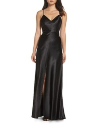 Black Slit Satin Evening Dress