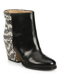 Black Snake Leather Ankle Boots