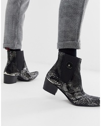 Jeffery West Sylvian Cuban Boots In Black Metallic Snake