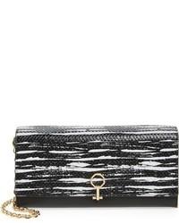 Yvet leather flap clutch black medium 874064