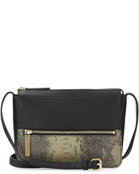 Black Snake Leather Crossbody Bag