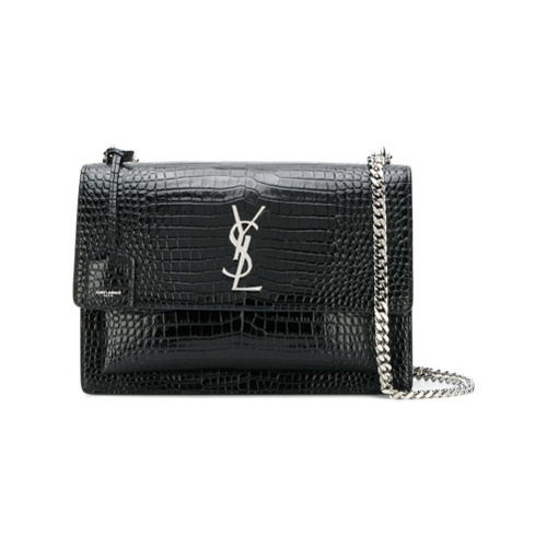 cea1fdf703 ... Saint Laurent Black Croc Sunset Monogram Leather Shoulder Bag ...
