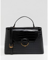ASOS DESIGN Croc City Bag With Ring Ball Detail