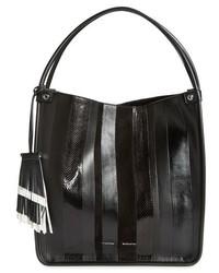 Medium exotic stripe genuine snakeskin leather tote medium 518357