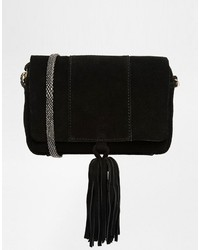 Asos Suede Cross Body Bag With Snake Strap