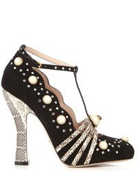 Gucci Ofelia Embellished Suede And Snakeskin Pumps