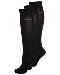 s.Oliver 3 Pack Knee High Socks Black