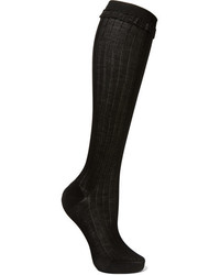 Prada Lace Trimmed Ribbed Cotton Knee Socks Black