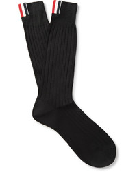 Thom Browne Ribbed Cotton Mid Calf Socks