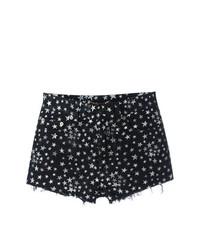 Saint Laurent Star Print Denim Shorts
