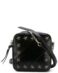 Black Star Print Leather Crossbody Bag